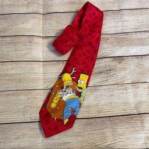 3/$30🦋 The Simpsons 100% Silk Christmas Tie Bart